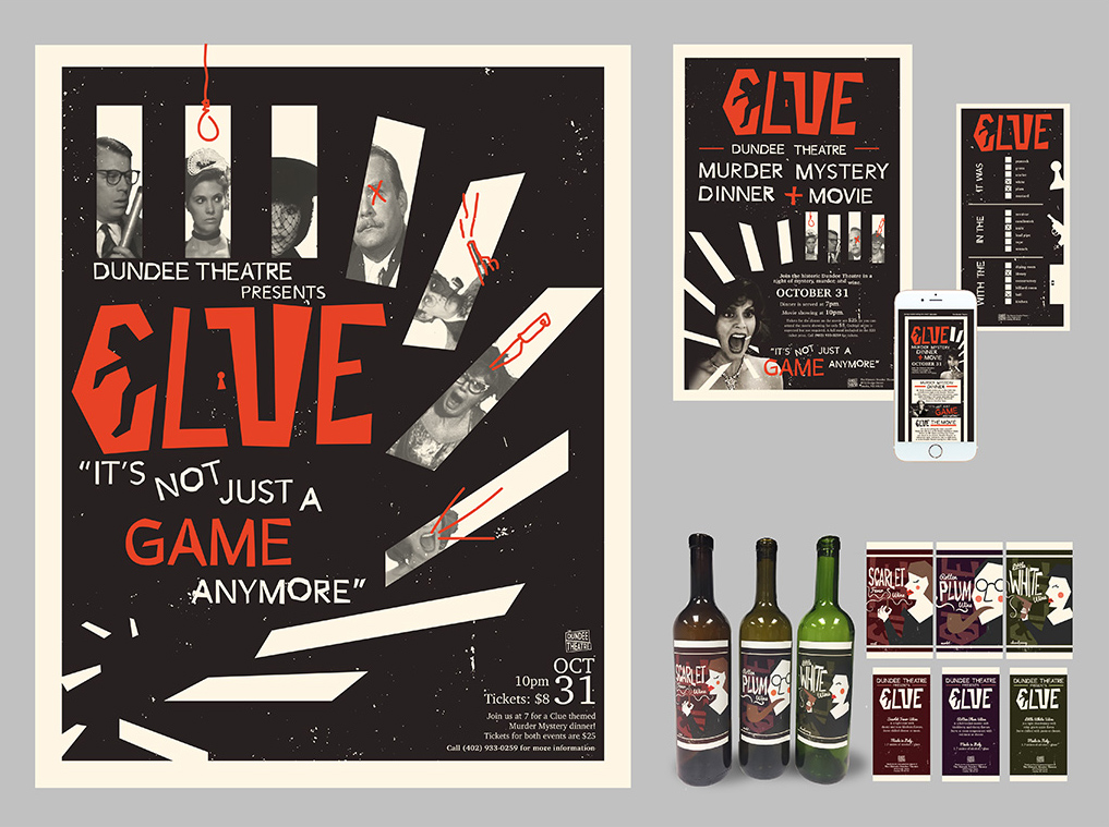 Clue poster and touchpoints
