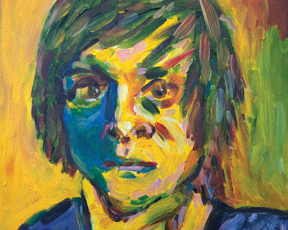 self-portrait painting by student
