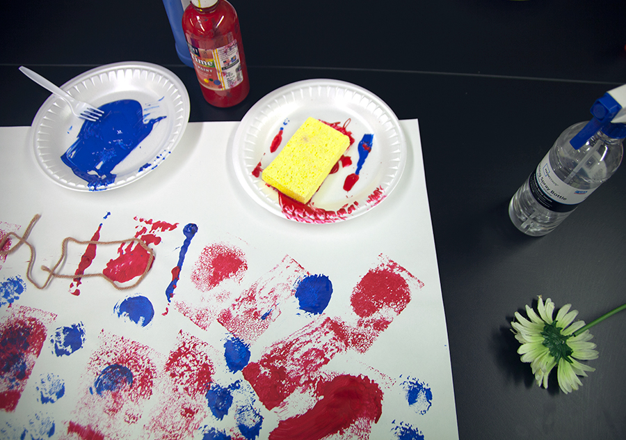 sponge painting materials on a table