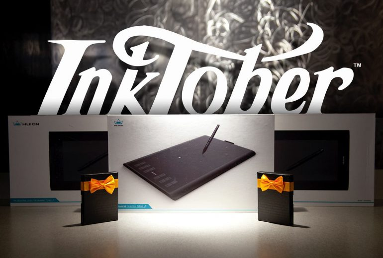 Inktober prizes for students including drawing tablets