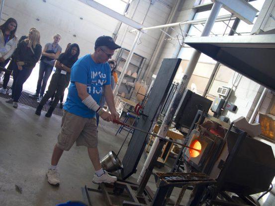 Professor Ramsey working with a glass kiln