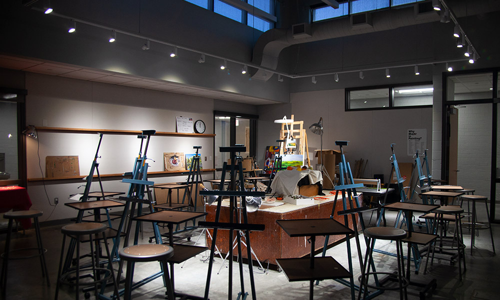 empty painting studio